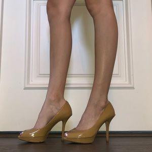 Nude Dior Peep toe heels